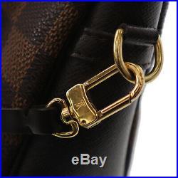 LOUIS VUITTON Damier Trousse Makeup Hand Bag Brown N51982 Vintage Auth #BB736 W