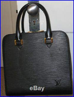 LOUIS VUITTON FRANCE Satchel HANDBAG PURSE Epi Leather Noir BLACK GOLD