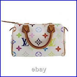 LOUIS VUITTON Mini Speedy Hand Bag White Multi Color M92645 Authentic #PP578 S