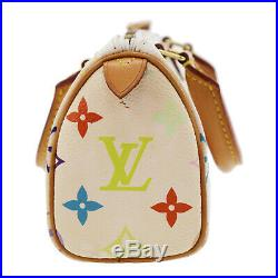 LOUIS VUITTON Mini Speedy White Multi Color M92645 France Authentic #EE839 W