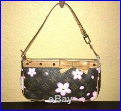 LOUIS VUITTON Monogram Cherry Blossom Bow Pochette Pouch Accessories Handbag