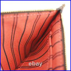 LOUIS VUITTON Never Full Pouch Damier Ebene Leather Brown Gold France 38BU270