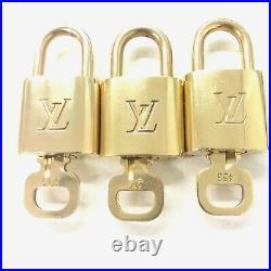LOUIS VUITTON PadLock & Key 3Pcs set Brass Gold Number random (Authentic)
