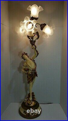 L & F Moreau French Art Nouveau Spelter Figural Table Lamp