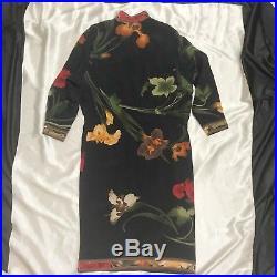 Leonard Paris Floral Silk Black Dress 2 M Gold Vintage 70s 80s France