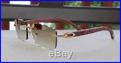Limited Cartier Smooth Cafe Lens Carved Rosewood Buffalo Sunglasses Shabowhita
