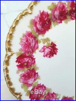 Limoges France Drop Rose Haviland 8 5/8 Antique Red Gold Trim Salad Plate