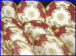 Limoges France Rose Floral In Gold Red Burgundy Panels Set Of 12 Cabinet Plates