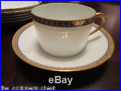 Limoges France fine china, cobalt and gold, 6 coffee cups and saucers 12 pcs1st