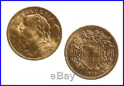 Lot of 5 Gold 20 Franc Swiss (Random Date) AU/BU