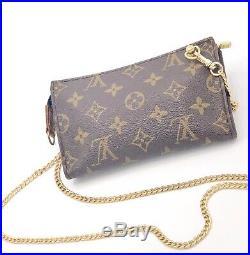 Louis Vuitton Crossbody Clutch- Pouch Generic Gold Chain- Restored. US Seller