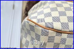 Louis Vuitton Evora MM Damier Azur Leather Satchel Shoulder Bag Handbag Purse