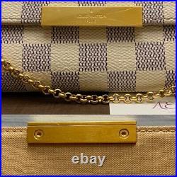 Louis Vuitton Favorite MM Damier Azur Clutch Crossbody (DU2185)+ Receipt+Box