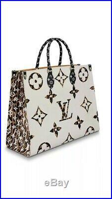 Louis Vuitton Giant Jungle ONTHEGO On The Go Tote Bag White Ivory Black New