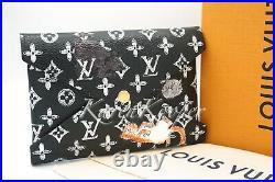 Louis Vuitton Kirigami Catogram Black Medium Pochette Cats Dogs Pouch Wallet