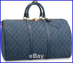 Louis Vuitton MONOGRAM DENIM KEEPALL 50 Navy Blue Duffle bag travel Virgil Abloh