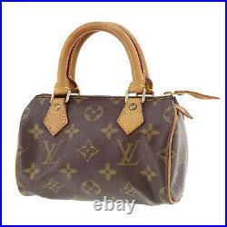 Louis Vuitton Mini Speedy Hand Bag Monogram Leather M41534 Vintage Auth #SS5 S