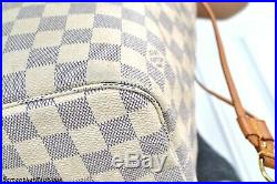 Louis Vuitton Neverfull MM Damier Azur Leather Tote Shoulder Bag Handbag Purse