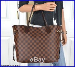 Louis Vuitton Neverfull MM Damier Ebene Leather Tote Shoulder Bag Handbag Purse