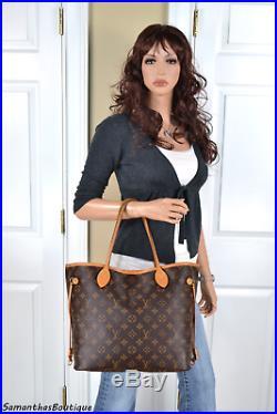 Louis Vuitton Neverfull MM Monogram Leather Tote Shoulder Bag Hobo Handbag Purse