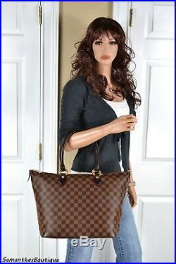 Louis Vuitton Saleya MM Damier Ebene Leather Tote Shoulder Bag Handbag Purse
