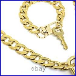 Louis Vuitton Set Lock Cuban Chain Necklace with Key Bracelet
