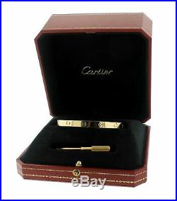 MINT Ladies Cartier LOVE Screw Size 19 18K 750 Solid Yellow Gold Bangle Bracelet