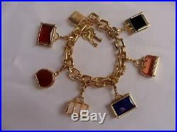 Magnificent Louis Vuitton 18k Gold Charm Luggage Bracelet 6 Charms With Box