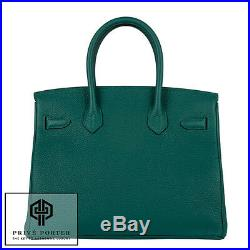 Malachite Green Birkin Hermes 30cm Emerald Togo Leather Bag Gold Ghw 2016
