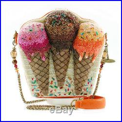 Mary Frances Melt Down Handbag Beaded Bag ICE CREAM scoops cone Summer New