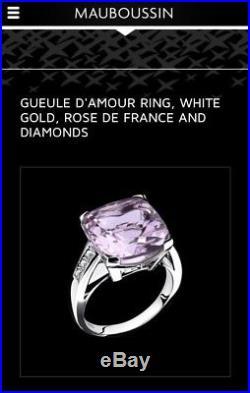 Mauboussin Gueule d'Amour Ring 18K white gold, Rose de France Amethyst, Diamonds