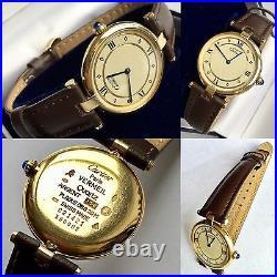 Must De Cartier Paris Vermeil Ladies Gold Plated Silver Watch Superb Condition