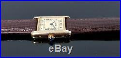 Must de Cartier Tank Gold on Silver Vintage Hand Wound Ladies Watch. Cartier Box