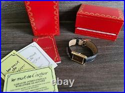 Must de Cartier Tank Mechanic 18ct Gold on Silver in very good cond unisex + box