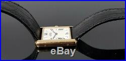 Must de Cartier Vermeil Tank Gold on Solid Silver Watch with Cartier Box&Papers
