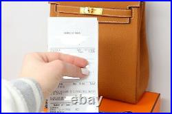 NEW 2020 Hermes Kelly Birkin ADO Backpack Gold HW Toffee Clemence With RECEIPT