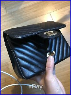 NEW CHANEL Black Chevron Lambskin Mini Square Vintage Gold hw WITH BOX and CARD