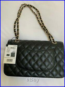 NEW! CHANEL Classic Medium Double Flap Shoulder Bag Black Caviar Gold hardware