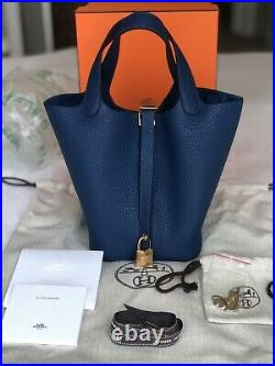 NEW Hermes Picotin Lock 18 PM Clemence in Deep Blue with Gold Hardware