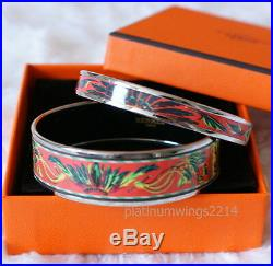 NIB Authentic Hermes Printed Enamel Bracelet Set Coral Red Brazil Gold Bangle 65