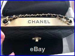 NIB authentic CHANEL Black gold-tone metal wallet on chain lambskin Leather 2020