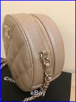 NWT 19S CHANEL Iridescent Beige Cavair Round Bag Clutch Chain RECEIPT GOLD