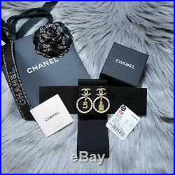 NWT 2020 Authentic CHANEL Classic CC Gold Tone Pearl Crystal Large Hoop Earrings