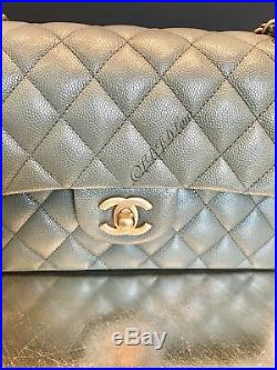 NWT CHANEL 18C Iridescent Green Caviar Small Double Flap Bag 2018 Gold SOLDOUT
