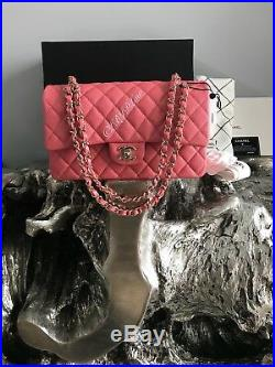 NWT CHANEL 18S Pink Caviar Medium Classic Double Flap Bag 2018 GOLD Pearly NEW
