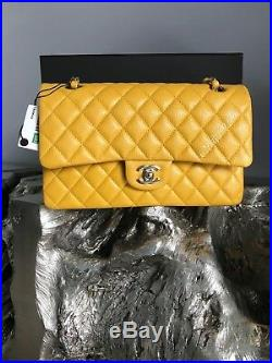 NWT CHANEL 18S Yellow Medium Classic Double Flap 2018 Pearly Mustard GOLD HW NEW