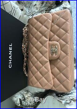 NWT CHANEL 2018 18S Beige CAVIAR JUMBO Classic Double Flap NEW Gold ROSEY Beige