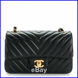 NWT CHANEL Black Chevron Mini Classic Flap Bag Lambskin Gold Rectangle FRANCE
