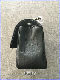NWT CHANEL Black Chevron Mini Classic Flap Bag Lambskin Gold Rectangle FRANCE