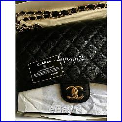 NWT CHANEL Classic Quilted Caviar MAXI Black Gold GHW SHW Double Flap 2.55 Bag